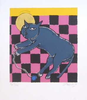 Photo: Sells Lithograph GUILLAUME CORNEILLE - LITHOGRAPHIE ORIGINALE CHAT - Contemporary