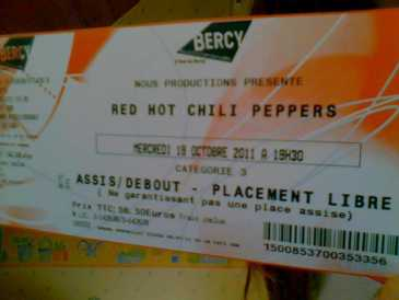 Photo: Sells Concert ticket CONCERT DES RED HOT CHILI PEPPERS - PARIS BERCY