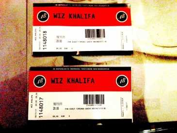 Photo: Sells Concert ticket WIZ KHALIFA - BRUXELLES