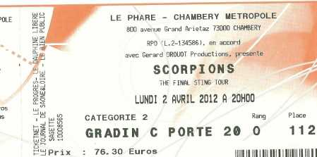 Photo: Sells Concert tickets CONCERT DE SCORPION 02.04.2012 - CHAMBERY