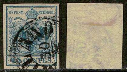 Photo: Sells Used (canceled) stamp 1855 LOMBARDO-VENETO : 45 C. NO: 12  TA.III