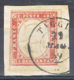 Photo: Sells Used (canceled) stamp 1859 SARDAIGNE: 40 C. NO: 16BB S/FR. (C. 425 <span title=