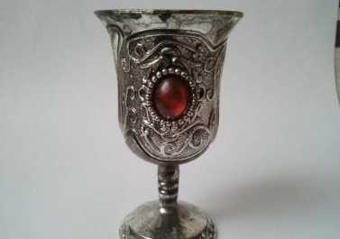 Photo: Sells Collection object COPA DE PLATA TIBETANA CON EMBELLECEDORES ROJOS