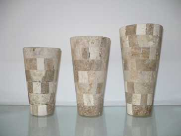 Photo: Sells Decoration PEPE CAPPELLA - SET DE 3 JARRONES EN MARMOL TRAVERTINO 05  U$ 290