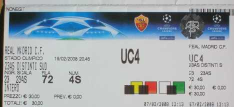 Photo: Sells Spectacle tickets ROMA REAL MADRID DEL 19-2-08 - ROMA
